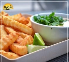 Crinkle Cut Fries With Lime Chipotle Dipping Sauce