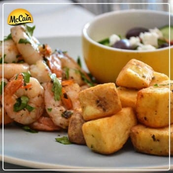 McCain Italian Mini Roasts With Grilled Prawns And Greek Salad