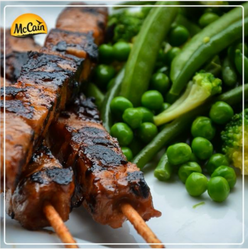McCain Garden Greens With Grilled Chicken Skewers