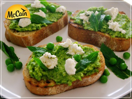 Persian Feta and Green Pea Bruschetta