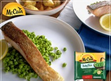 Grilled Salmon with Mushy Peas and Traditional Roast Potatoes