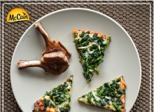 Lamb Cutlets With McCain Ultra Thin Crust Spinach And Mozzarella Pizza