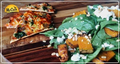 McCain Ultra Thin Moroccan Lamb Pizza With Roasted Pumpkin Salad