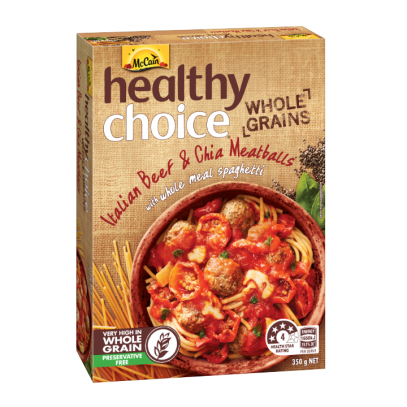 Healthy Choice Wholegrains Beef & Chia Meatballs with Wholemeal Spaghetti