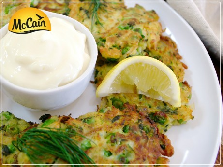 Zucchini and Pea Fritters
