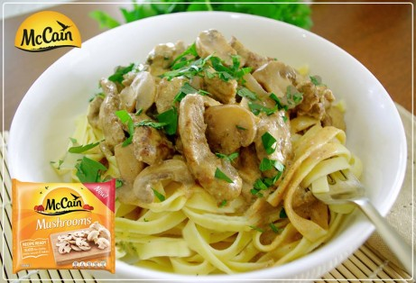 Hearty Beef and Mushroom Stroganoff with Fettuccine
