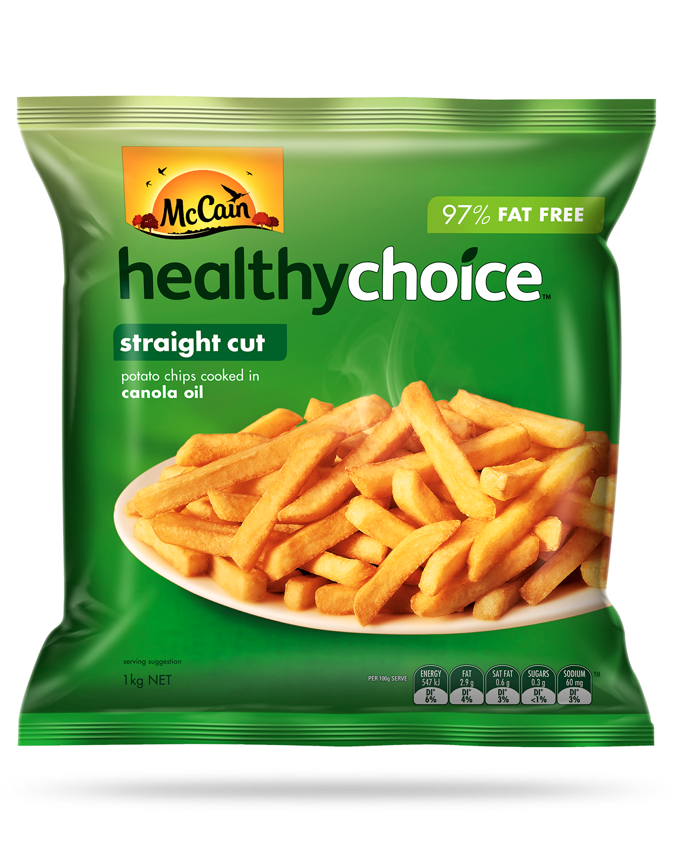 Healthy Choice Straight Cut Chips 1kg - Frozen food