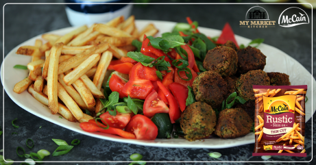 Falafel, Rustic chips and Israeli salad