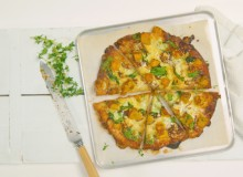 Pumpkin and caramelised onion pizza