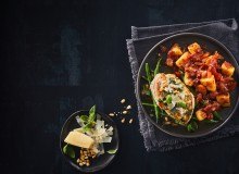 Delish Italian Style Potato Bake and Pan-Fried Chicken with Basil & Parmesan